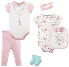 NWT 6-9 9 mo PUMA 5Pc Bodysuits Gift Set LT /& HOT PINK Stripes Hearts $48