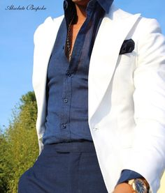 White otoman Peaked Jacket mixed with navy linen by Absolute Bespoke