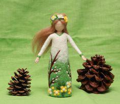 Needle felted Spring Fairy doll Waldorf Fairy doll wool
