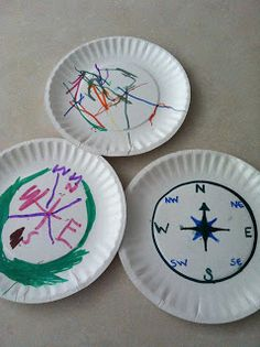 For introducing the four cardinal directions, this would make a fun in-class activity. These would also make for fun games by dividing the class into the four cardinal directions, and playing a game with that. Preschool Pirate Theme, Pirate Activities, Preschool Lessons, Preschool Activities, Summer Activities, Summer Crafts, Crafts For Kids, Daycare Crafts, Kids Diy