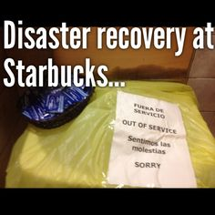 Disaster recovery for core services at No water? They give hygiene sanitization pads. Starbucks, Have Some Fun, Linux, Recovery, Core, Posts, Water, Gripe Water, Messages