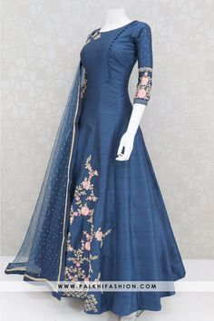 Trendy Blue Colored Embroidery Work Indian Outfit Trendy Blue Colored Embroidery Work Indian Outfit From Palkhi Fashion Pakistani Dresses Casual, Indian Fashion Dresses, Indian Gowns Dresses, Dress Indian Style, Indian Designer Outfits, Indian Outfits, Stylish Dresses For Girls, Stylish Dress Designs, Designs For Dresses
