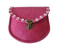 Dirndl Schürzentasche Filz MAIKE pink mit Blütenborte - Filztasche kaufen - Filztaschen von margritli country style