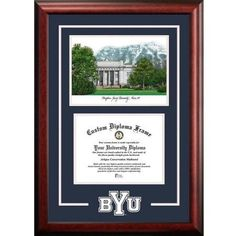 Brigham Young University 8.5 inch x 11 inch Spirit Graduate Diploma Frame with Campus Images Lithograph