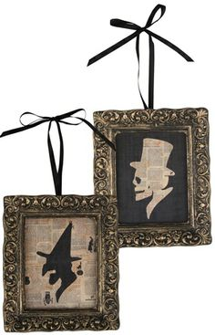 Halloween Silhouettes @Roni Dillard Would be cute in little frames on the sliver ornament hanger!!