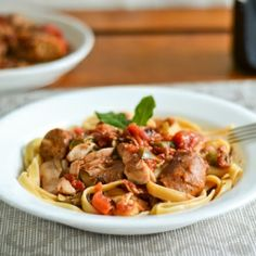 Pasta with Braised Chicken and Sausages