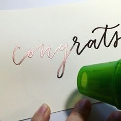 Here's another heat embossing video! This time I used a black embossing pen and copper embossing powder. I love the copper because it embosses into this beautiful rose gold-like color. Tag someone you want to congratulate! #calligrabasics #calligrabasics_mychoice  Tools used: @papersource card stock, @ranger_ink embossing pen (black) and embossing powder (copper), Nicole embossing heat tool  Video taken with Hyperlapse at 8x speed