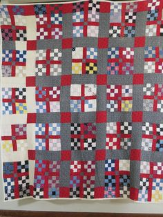 love the sashing and change in fabric. Vintage Antique Handmade Quilt Nine Block 1800's Patchwork Quilt Americana