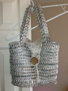 All hand crocheted can tab bag. Unique and different gift idea..