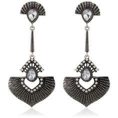 Faux Gem Embellished Fan Shaped Earrings Silver ($4.78) ❤ liked on Polyvore featuring jewelry, earrings, gem jewelry, gemstone earrings, gem earrings, silver jewelry and fake earrings