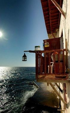 Lovely balcony in Little Venice, Mykonos (photo by Adrian Furner) - Greece Corfu Greece, Santorini Greece, Paros, Places Around The World, Around The Worlds, Mykonos Island, Greece Travel, Greek Islands, Athens