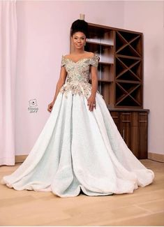 40 Gorgeous Wedding Dress Styles For Your African Traditional Wedding - The Glossychic African Prom Dresses, Latest African Fashion Dresses, African Dress, Women's Fashion Dresses, African Outfits, African Clothes, Nigerian Lace Dress, Nigerian Wedding Dress, Kente Dress