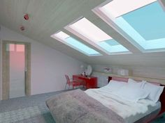 Proper Attic Conversion Ideas into a Good Bedroom on Your Home: Easy On The Eye Bright Attic Bedroom Ideas Sloping Ceiling Mixed With Window Blind Also Low Profile Queen Sized Bed In White Themed ~ workdon.com Bedroom Design Inspiration