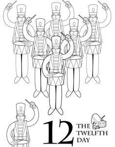 FREE Christmas Coloring Printable: 12 Drummers Drumming!