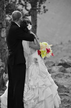 Love the black and white with beautiful bouquet in color