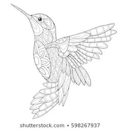 Bird drawings - Hummingbird Coloring Pages Bird Coloring Pages, Printable Adult Coloring Pages, Mandala Coloring Pages, Coloring Pages For Kids, Kids Coloring, Coloring Sheets, Coloring Pages For Adults, Hummingbird Colors, Hummingbird Drawing
