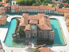 Rocca Sanvitale a Fontanellato - Castle, built between 14th-16th centuries. There is a chamber of alchemy and frescoes of Diane & Acteon painted in 1523-24 by Parmigianino for the Count Galeazzo Sanvitale & his wife, Paola Gonzaga. There is also a 'chamber of optics' (camera ottica), which has an optical system in place that projects to an inside wall a view of the town through mirrors and a prism.