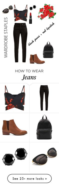 """""""Black Jeans and Red Lipstick"""" by mattiejoe on Polyvore featuring Yves Saint Laurent, Seychelles, French Connection, West Coast Jewelry and Smashbox"""