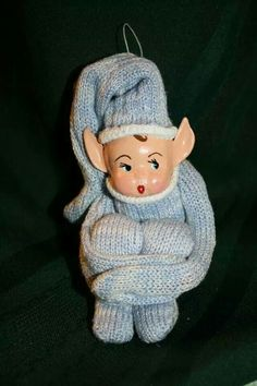 Clay elf pixie Christmas tree ornament glove outfit
