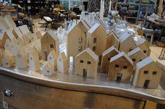 Dekorationsidee zum Advent, Holzhäuser
