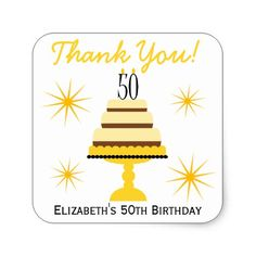 Yellow Cake 50th Birthday Party Favor Stickers