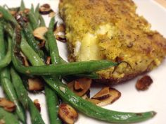 Almond flour and turmeric crusted cod w/ green beans and roasted almonds