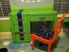Boys desk and chair makeover - green striped desk, orange chair, new seat cover - AFTER