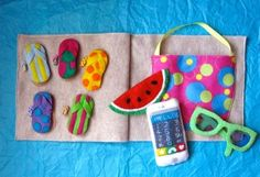 Beach Bag & Flip-Flop Matching Quiet Book Page, this is so cute and there are lots of other ideas for a quiet book to keep little ones busy.