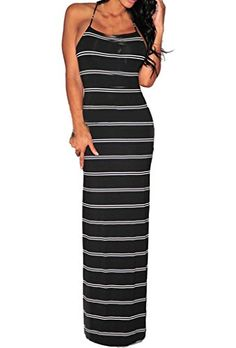 Zkess Women s Sleeveless Striped Twist Cut-Out Back Evening Maxi Dress One  Size White 0402c712bed0