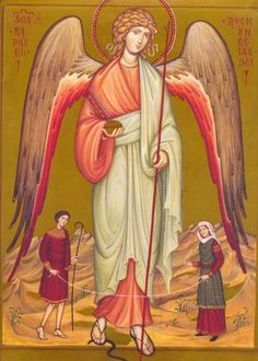 "Prayer to Archangel, St. Raphael ""Angel of Happy Meetings""  Dear St. Raphael, Angel of Happy Meetings, lead us by the hand toward those we are waiting for and those who are waiting for us. May all our movements, all their movements, be guided by thy light and transfigured by thy joy."