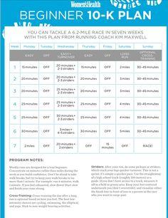 Beginner 10k 7 week training plan