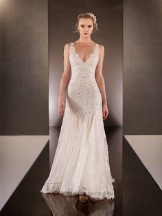 Elegant Beaded Straps Plunging V-neck Lace Wedding Dresses with Square Open Back