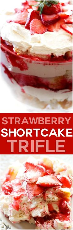 Strawberry Shortcake Trifle... A light and delicious trifle layered with strawberry sauce, angel food cake and whipped cream! This will be a hit wherever it is served!