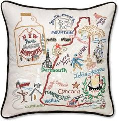 "Amazon.com: Handmade, Hand-Embroidered New Hampshire Decorative Geography State Pillow. 19"" x 19"".: Home & Kitchen"