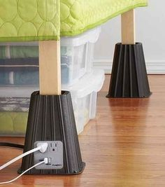 Bed Risers with Built-In Power Strips. I REALLLLYYYY need this!!!!