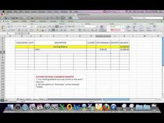 How to set up a MicroSoft Excel spreadsheet to automatically calculate totals as you enter transactions.