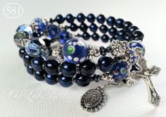 Rosary Bracelet,Rosary Wrap Bracelet,Dark Navy Blue Glass Beads,Religious Gift,Catholic Jewelry,Bridal,Mother's Day,Confirmation,Wedding,581 by OURLADYBeads on Etsy
