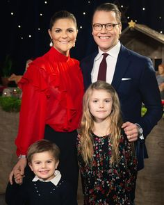 """Christmas greetings from Crown Princess Victoria, Prince Daniel, Princess Estelle, and Prince Oscar of Sweden!"