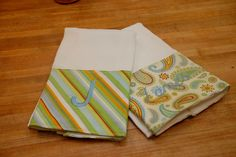 burp cloths with fabric band and monogram from  Little Lizard King - Sewing Patterns & Crafty Things: Boutique Burp Cloths - DIY Tutorial