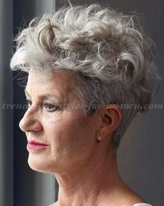 short hairstyles over 50 - short curly hairstyle for silver hair . Grey Curly Hair, Short Grey Hair, Curly Hair Cuts, Wavy Hair, Short Hair Cuts, Curly Hair Styles, Short Wavy, Uk Hairstyles, Short Curly Hairstyles For Women
