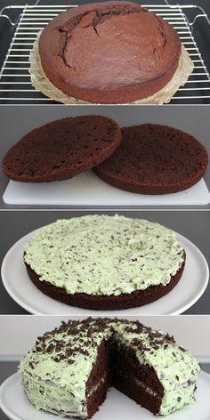 Fantastisk kage, hvor smørcremen med mint passer perfekt sammen med den svampede…