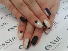 black white block nails