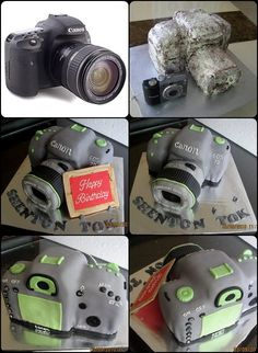 Yesterday my customer request a camera cake for her friend's birthday. She gave me the Canon photo for the idea of the cake look lik. 80 Birthday Cake, Friend Birthday, Birthday Parties, Camera Cakes, Cool Cake Designs, Cupcake Cakes, Cupcakes, Cake Tutorial, Amazing Cakes