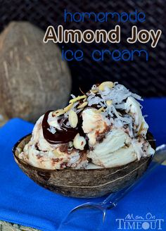Homemade Almond Joy Ice Cream - No Machine Needed! | MomOnTimeout.com