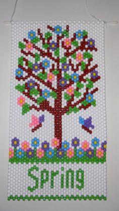 Handmade Hand Beaded Spring Tree Beaded Banner with Nylon Cord Hanger Pony Bead Crafts, Beaded Crafts, Beaded Ornaments, Pony Bead Patterns, Peyote Patterns, Beading Patterns, Tiny Cross Stitch, Beaded Banners, Spring Tree