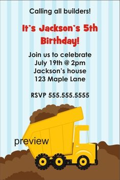 Dump Truck Construction Invitation - Calling Builders Personalized Party Invites