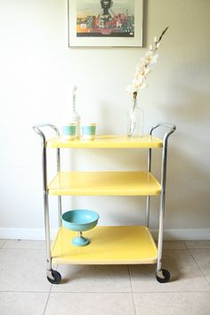 Vintage Yellow Rolling Cosco Server Cart - Mid Century Metal Bar Cart - 1950s…