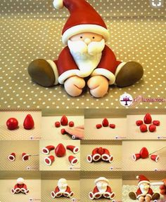Fondant Santa tutorial - For all your Christmas cake decorat.- Fondant Santa tutorial – For all your Christmas cake decorations, please visit w… Fondant Santa tutorial – For all your Christmas cake decorations, please visit www. Christmas Cake Designs, Christmas Cake Decorations, Fondant Decorations, Christmas Cupcakes, Fondant Christmas Cake, Xmas Cakes, 3d Cakes, Holiday Cakes, Polymer Clay Christmas