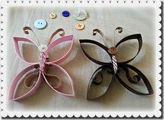 boniques papallones amb tubs de cartró