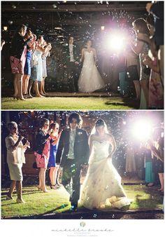 Bubble grand exit. Chelsea + Daniel's wedding at Lenora's Legacy Estate. Image credit: Michelle Brooks.